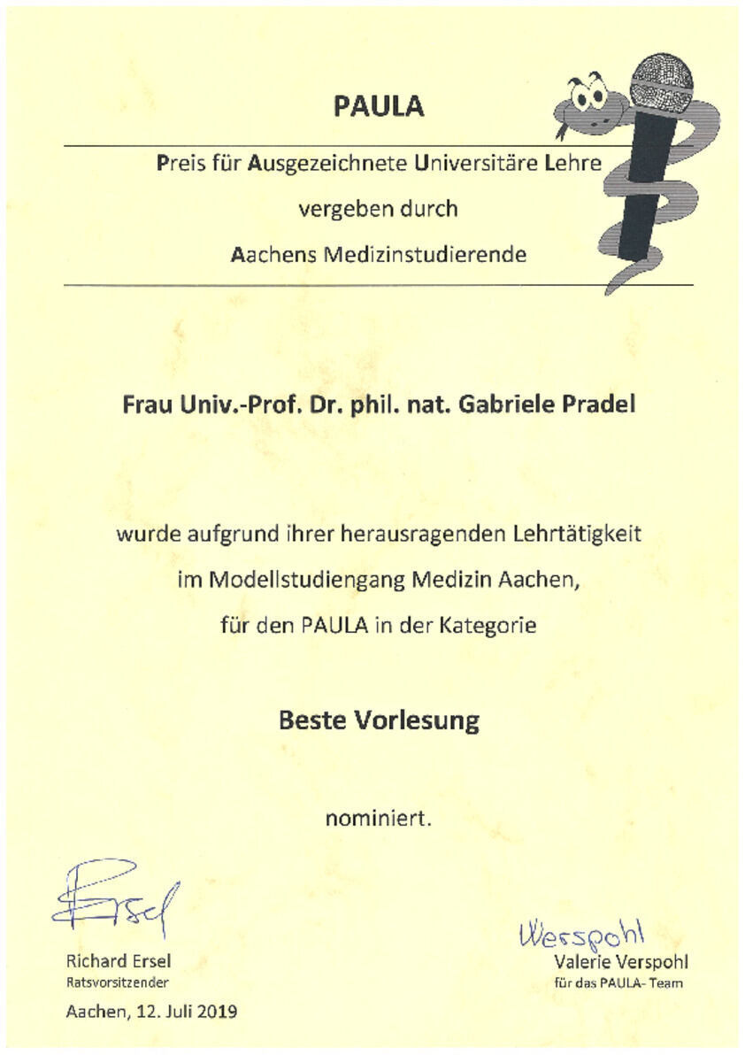 "PAULA Award Nomination Certificate in the ""Best Lecture"" Category"